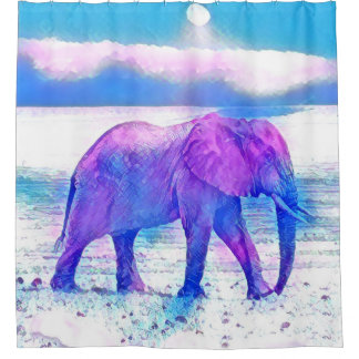 Pastel Elephant Shower Curtain