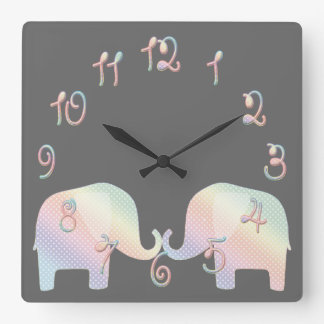 pastel elephant square wall clock
