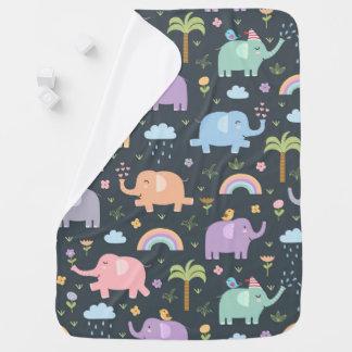 Pastel Elephants and Rainbows Baby Blanket