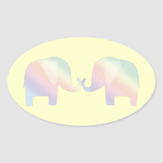 pastel elephants oval sticker
