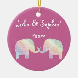 pastel elephants round ceramic decoration
