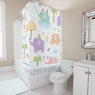 Pastel Elephants Shower Curtain