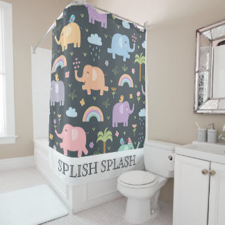 Pastel Elephants Shower Curtain