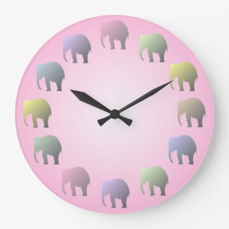 Pastel Elephants Wall Clock