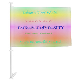 "Pastel ""Embrace Diversity"" LGBTQA Rainbow Pattern Car Flag"