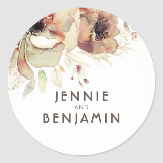 Pastel Fall Watercolor Vintage Flowers Wedding Classic Round Sticker
