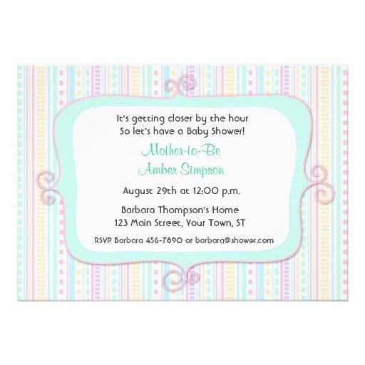 Pastel Fancy Frame Baby Shower Invitation