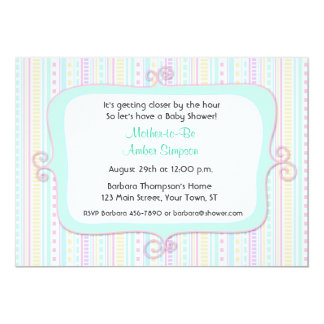 "Pastel Fancy Frame Baby Shower Invitation 5"" X 7"" Invitation Card"