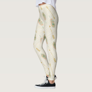 Pastel Feathers Arrows Tribal Chic Legging