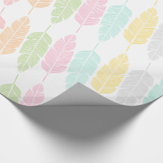 Pastel Feathers Patterned Wrapping Paper