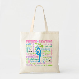 Pastel Figure Skater Words Typography Budget Tote Bag