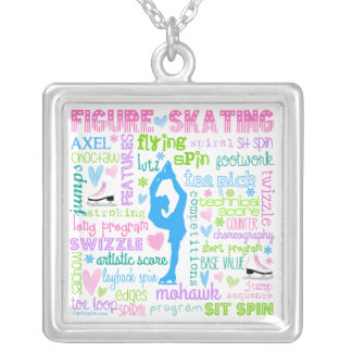 Pastel Figure Skater Words Typography Silver Plated Necklace