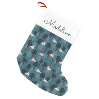 Pastel Flamingos On Teal | Add Your Name Small Christmas Stocking