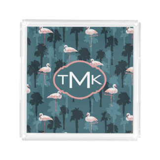 Pastel Flamingos On Teal | Monogram Acrylic Tray