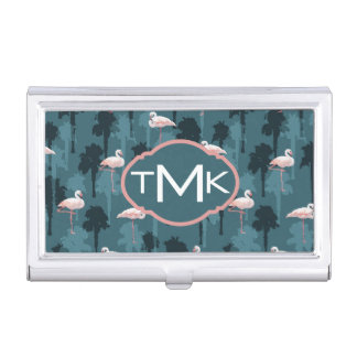 Pastel Flamingos On Teal | Monogram Business Card Holder