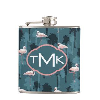 Pastel Flamingos On Teal | Monogram Hip Flask