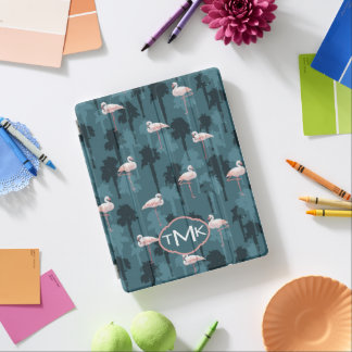 Pastel Flamingos On Teal | Monogram iPad Cover
