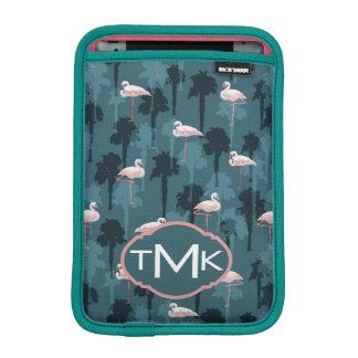 Pastel Flamingos On Teal | Monogram iPad Mini Sleeve