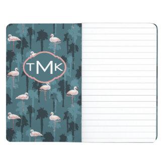 Pastel Flamingos On Teal   Monogram Journal