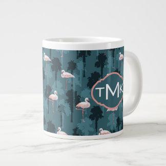 Pastel Flamingos On Teal | Monogram Large Coffee Mug