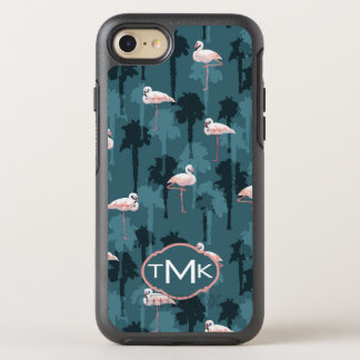 Pastel Flamingos On Teal | Monogram OtterBox Symmetry iPhone 8/7 Case
