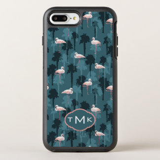 Pastel Flamingos On Teal | Monogram OtterBox Symmetry iPhone 8 Plus/7 Plus Case