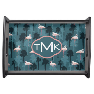 Pastel Flamingos On Teal | Monogram Serving Tray