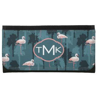 Pastel Flamingos On Teal | Monogram Wallets