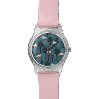 Pastel Flamingos On Teal Watch
