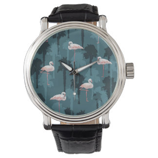 Pastel Flamingos On Teal Watches