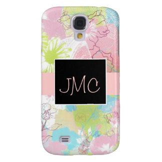 Pastel Floral Monogram 3G Phone Case Samsung Galaxy S4 Case