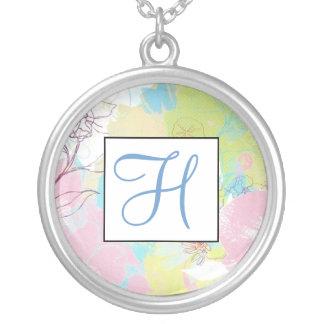 Pastel Floral Monogram Necklace