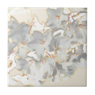 Pastel Floral Print Small Square Tile