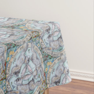 Pastel Floral Rabbit Hare Medallion Tablecloth