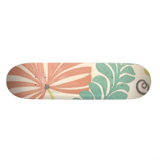 Pastel Floral Vines and Leaves on Cream Background 20.6 Cm Skateboard Deck