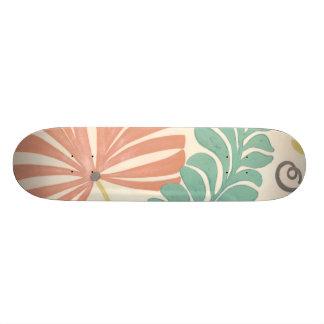 Pastel Floral Vines and Leaves on Cream Background 20.6 Cm Skateboard Deck