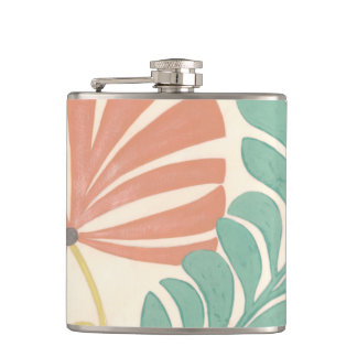 Pastel Floral Vines and Leaves on Cream Background Flask