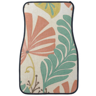 Pastel Floral Vines and Leaves on Cream Background Floor Mat