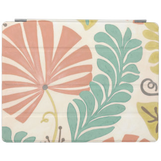 Pastel Floral Vines and Leaves on Cream Background iPad Cover