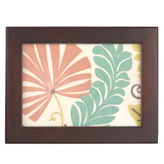 Pastel Floral Vines and Leaves on Cream Background Keepsake Box