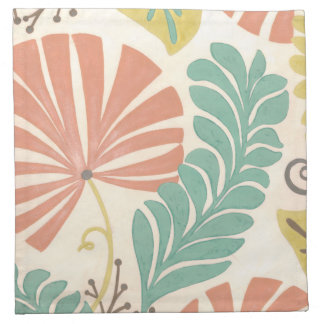 Pastel Floral Vines and Leaves on Cream Background Napkin