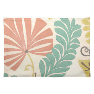 Pastel Floral Vines and Leaves on Cream Background Placemat
