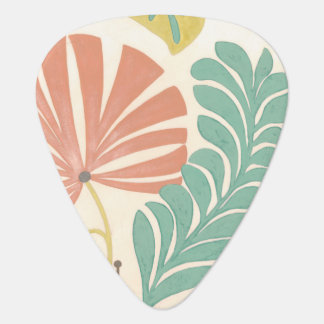 Pastel Floral Vines and Leaves on Cream Background Plectrum