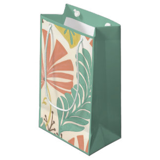 Pastel Floral Vines and Leaves on Cream Background Small Gift Bag