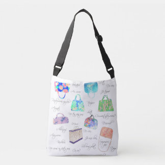 Pastel Floral Watercolor Illustrations Typography Crossbody Bag