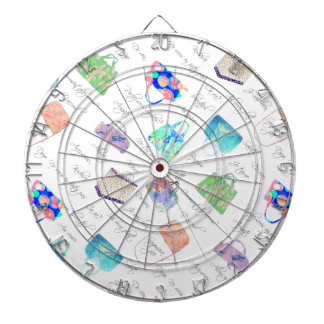 Pastel Floral Watercolor Illustrations Typography Dartboard