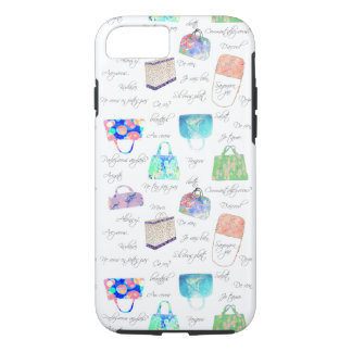 Pastel Floral Watercolor Illustrations Typography iPhone 8/7 Case