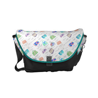 Pastel Floral Watercolor Illustrations Typography Messenger Bags