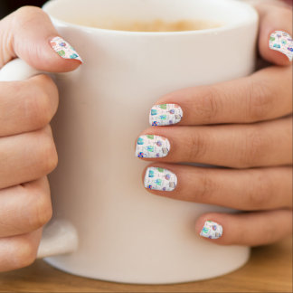 Pastel Floral Watercolor Illustrations Typography Minx Nail Art