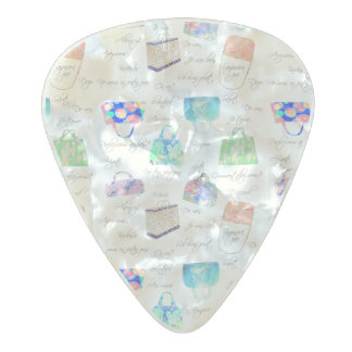 Pastel Floral Watercolor Illustrations Typography Pearl Celluloid Guitar Pick
